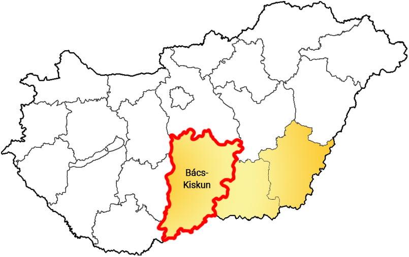 Bács-Kiskun megye - Közösségi Sportváros - Free Sport Parks térkép
