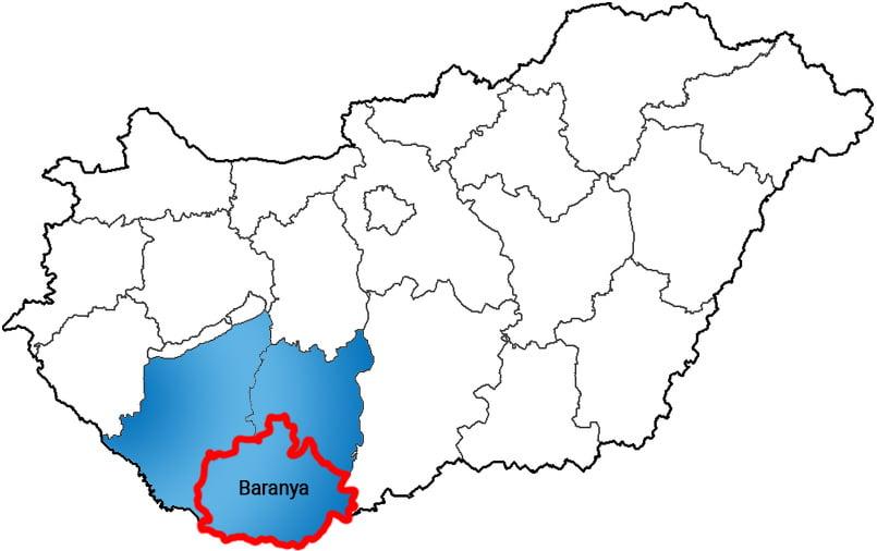 Baranya megye - Közösségi Sportváros - Free Sport Parks térkép