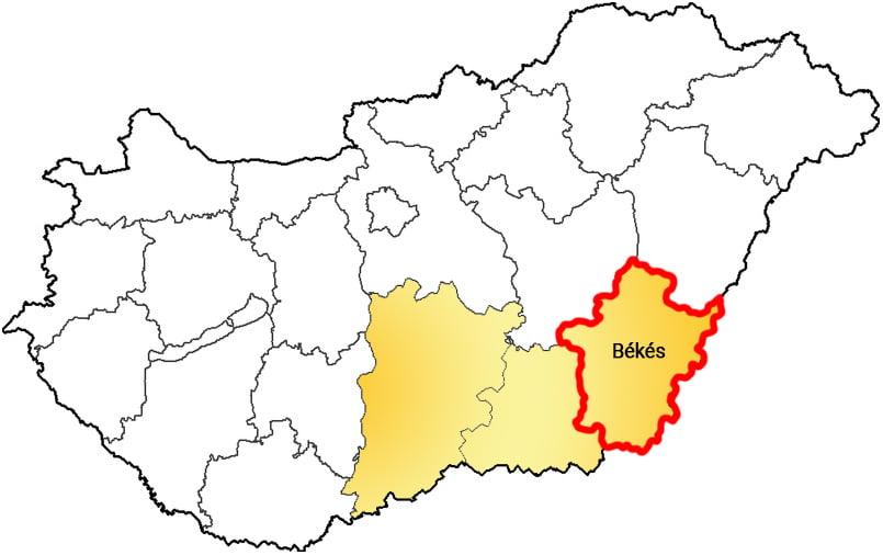 Békés megye - Közösségi Sportváros - Free Sport Parks térkép