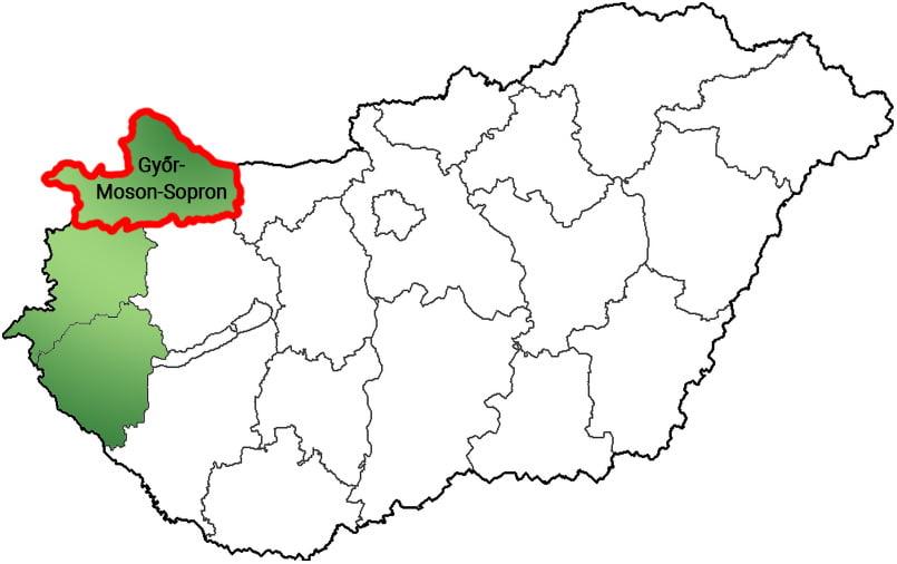Győr-Moson-Sopron megye - Közösségi Sportváros - Free Sport Parks térkép