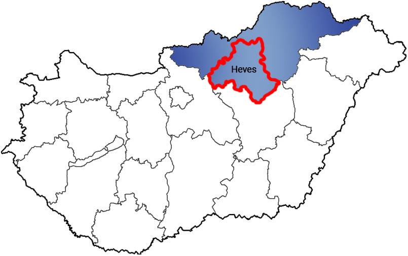 Heves megye - Közösségi Sportváros - Free Sport Parks térkép