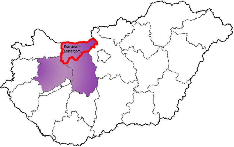 Komárom-Esztergom megye - Közösségi Sportváros - Free Sport Parks térkép