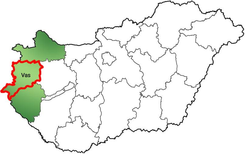 Vas megye - Közösségi Sportváros - Free Sport Parks térkép