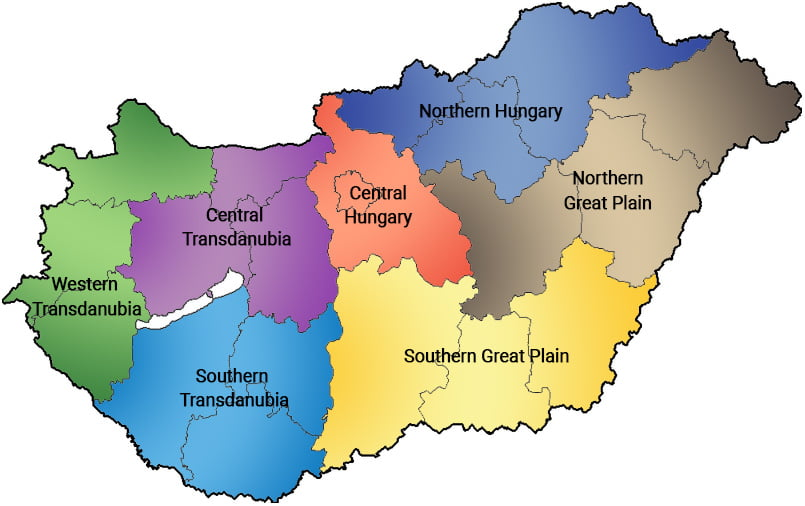The regions of Hungary - Social Sport City - Free Sport Parks Map