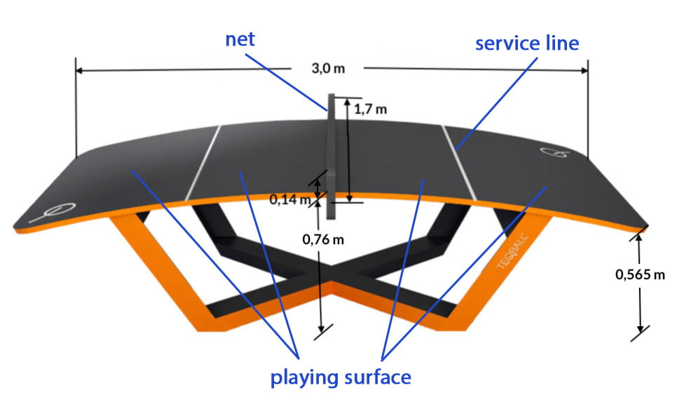 Teqball table marking and dimensions - Free Sport Parks Map