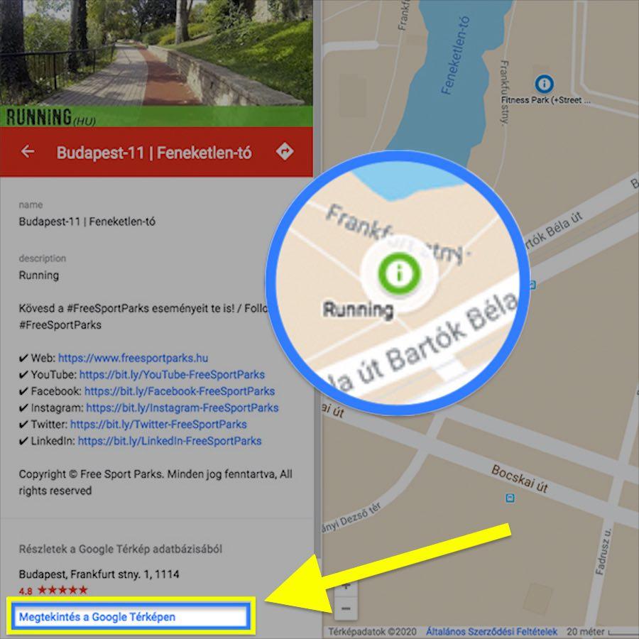 extra funkciók - Free Sport Parks térkép