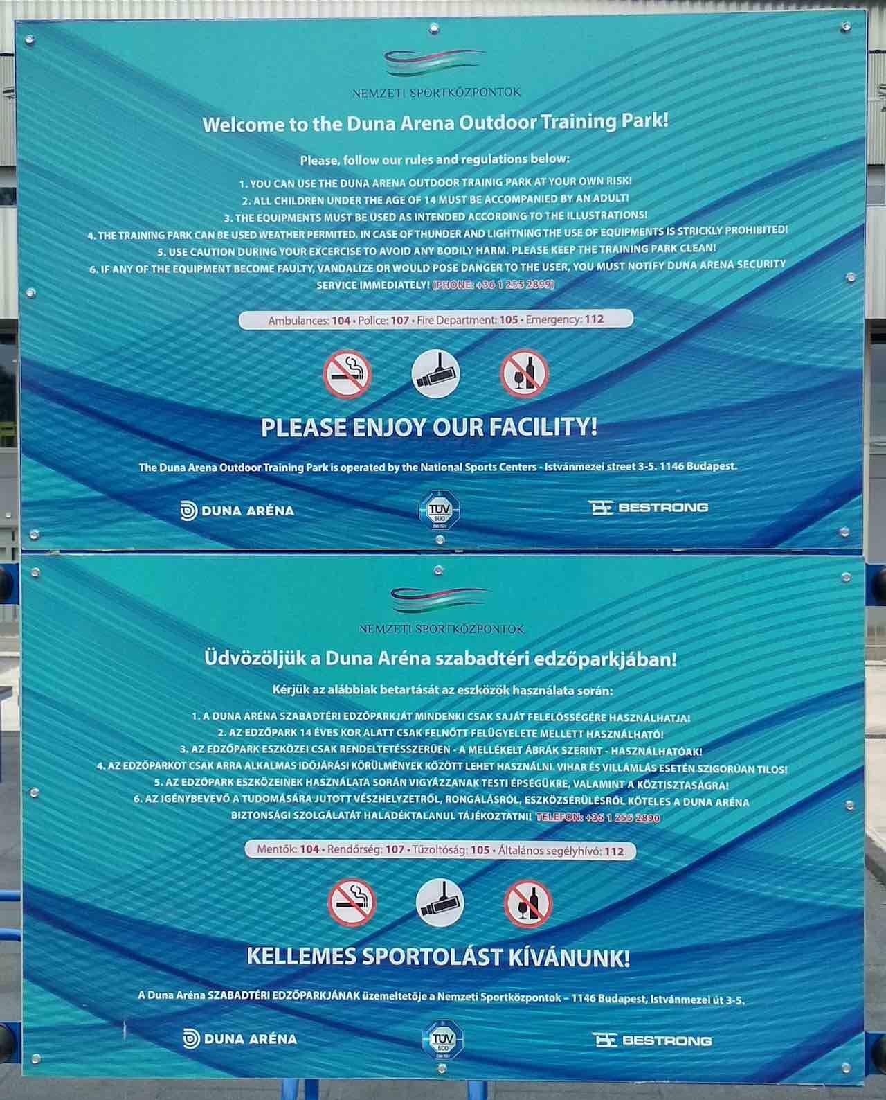 Duna Aréna szabadtéri edzőpark házirendje