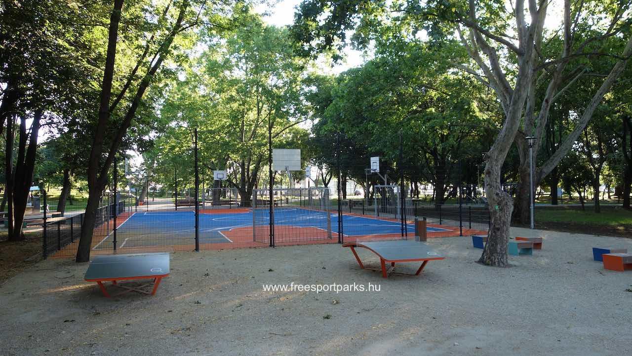 Egyetemisták parkja többféle sportpályával, sporteszközzel