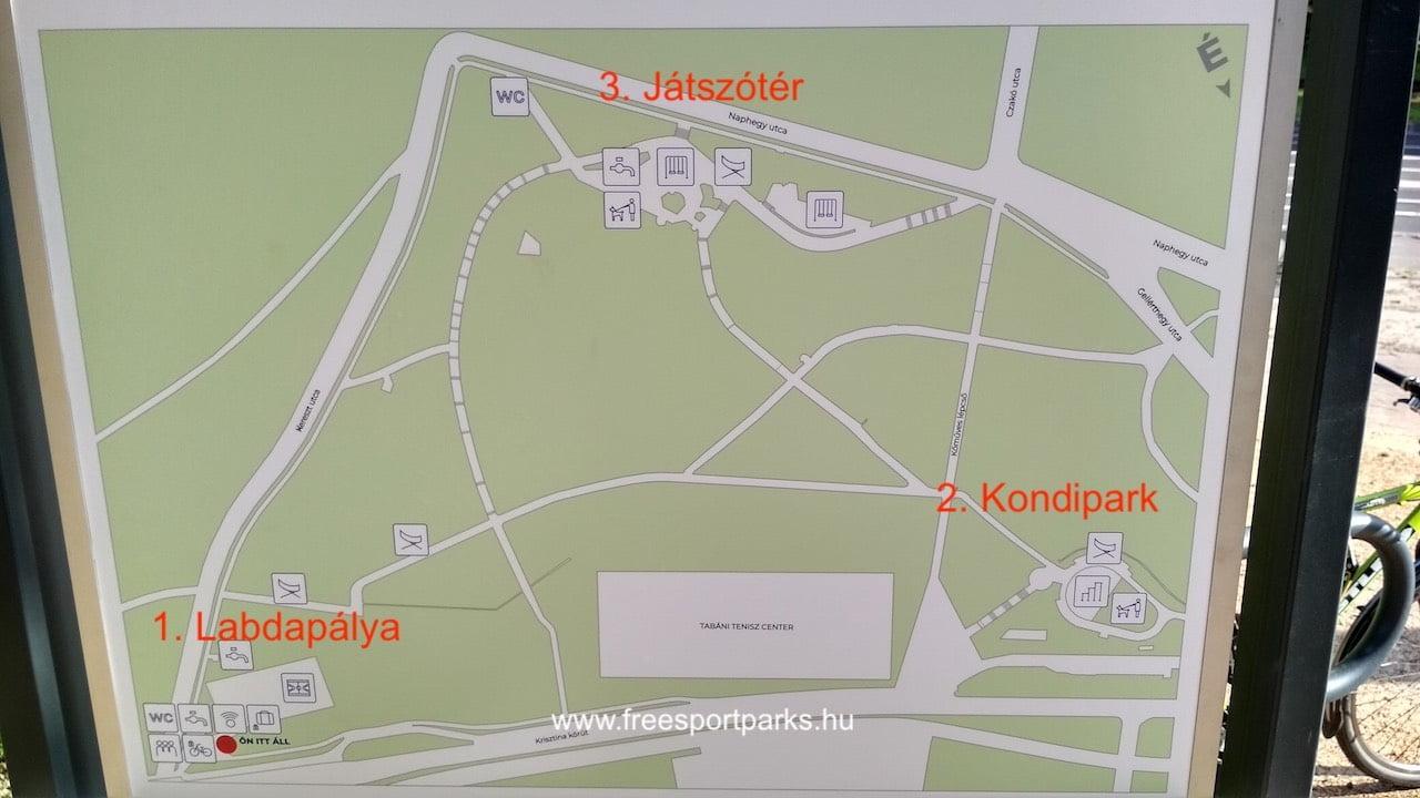 a Tabáni szabadidőpark három része