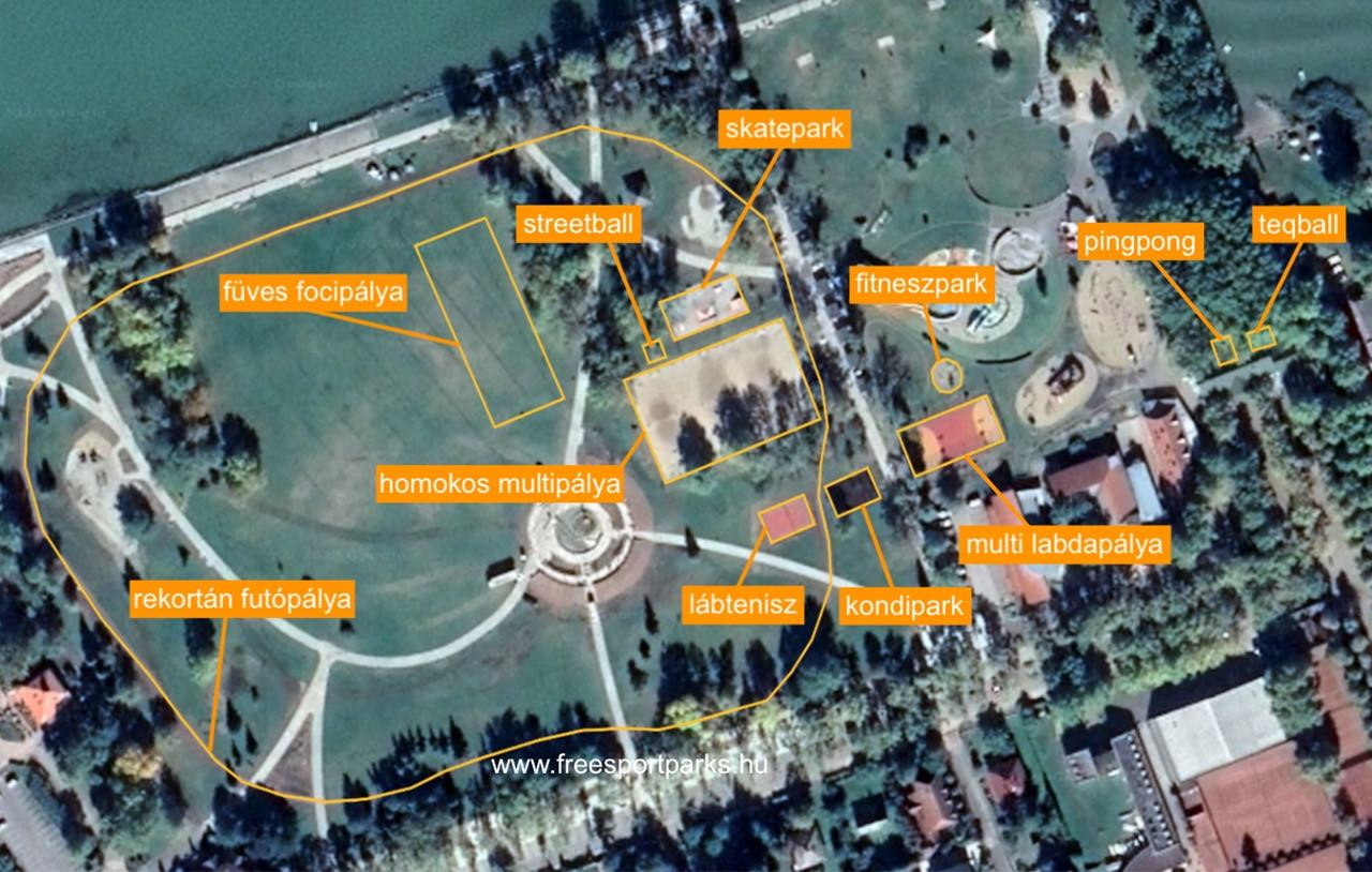 a balatonboglári Platán strand sporthelyszínei