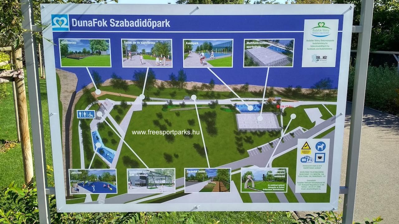 Dunafok Szabadidőpark sportpályái, helyszínei