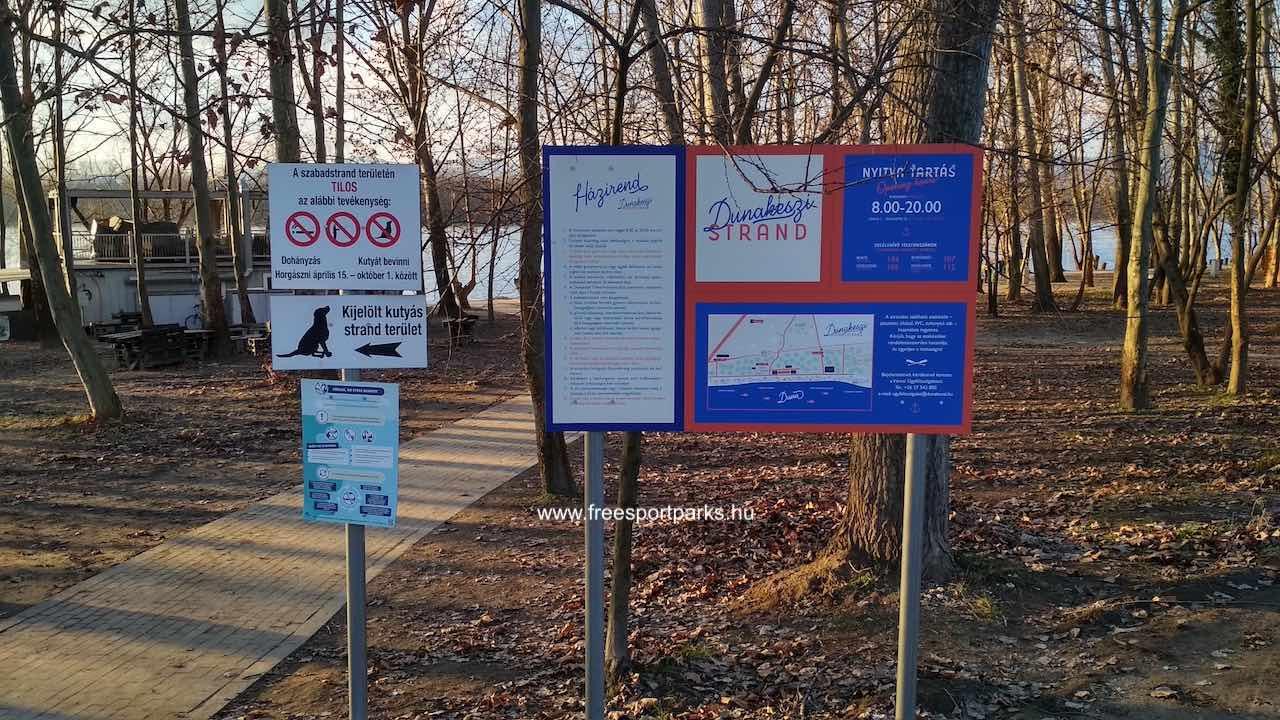 Dunakeszi Szabadstrand bejárata a kerékpárútról