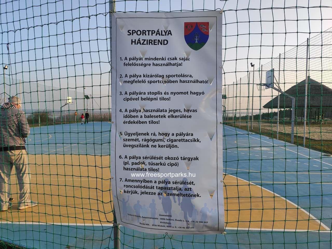 Sukoró sportpark multifunkciós labdapályájának a házirendje