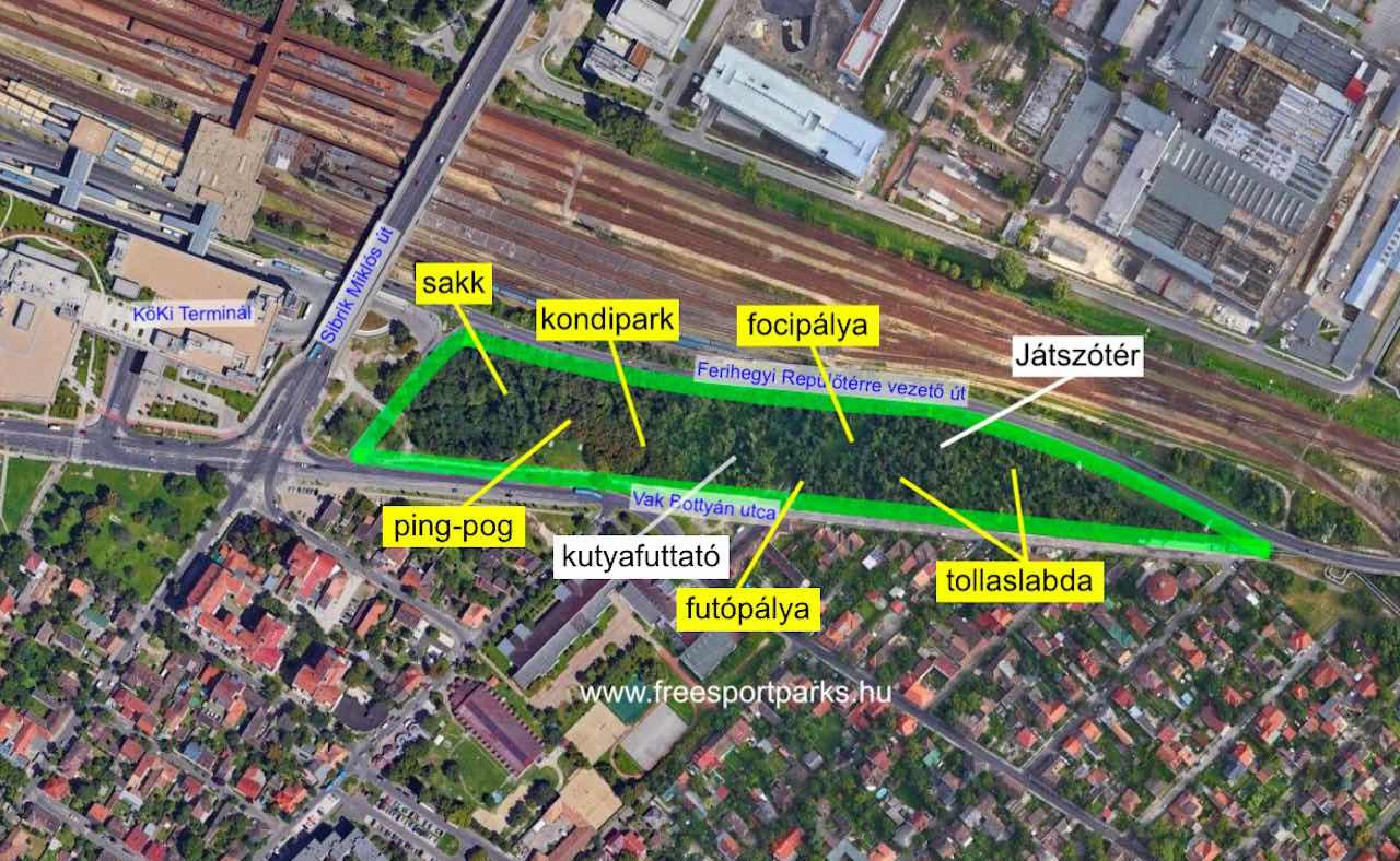 Kúttói parkerdő sporthelyszínei - Free Sport Parks térkép