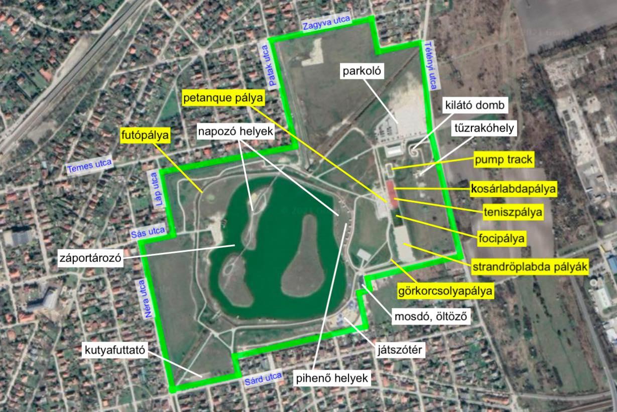 Érd szabadidőpark sportolási lehetőségei- Free Sport Parks térkép